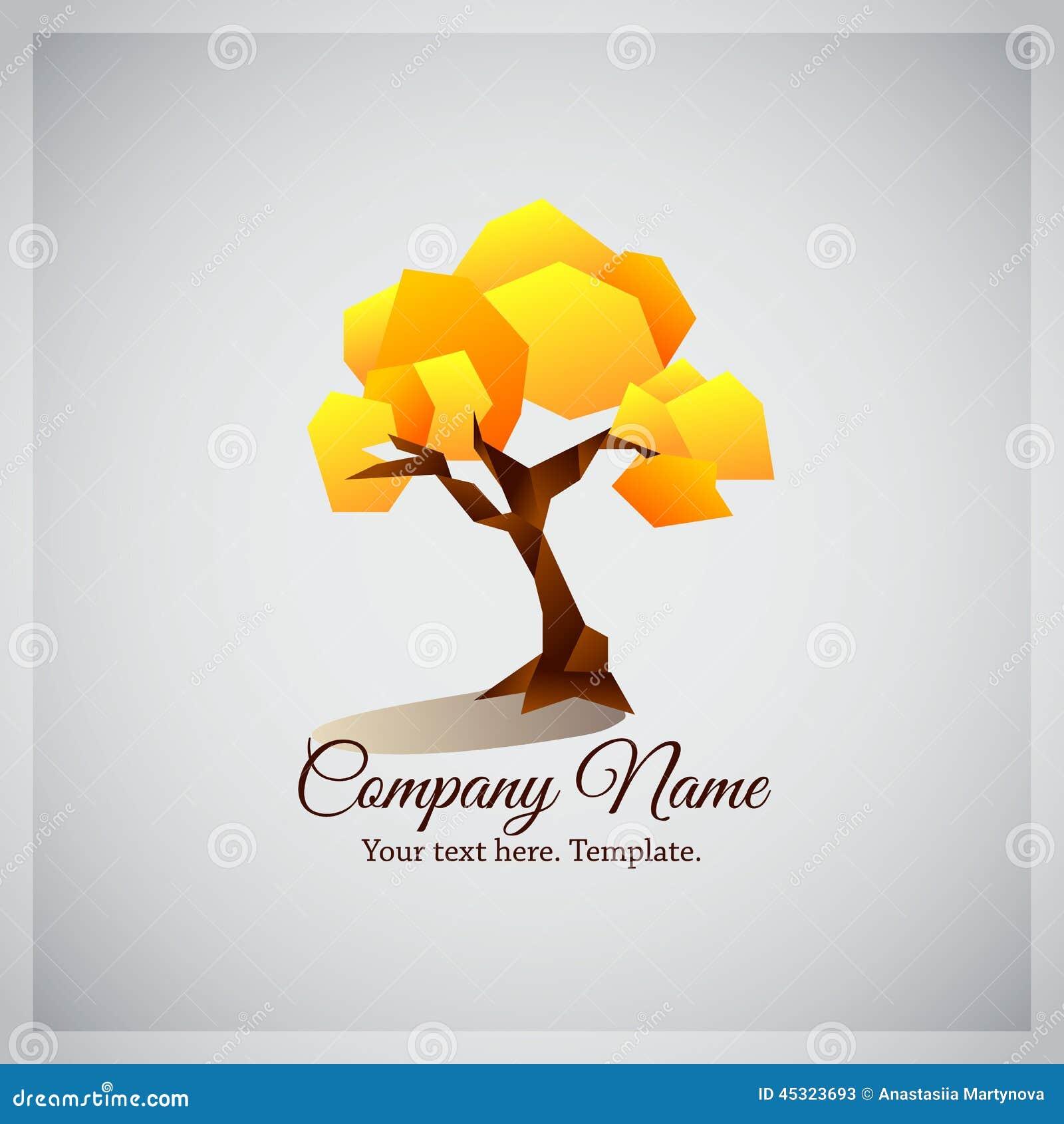 Company Business Logo With Geometric Yellow Tree Stock ...