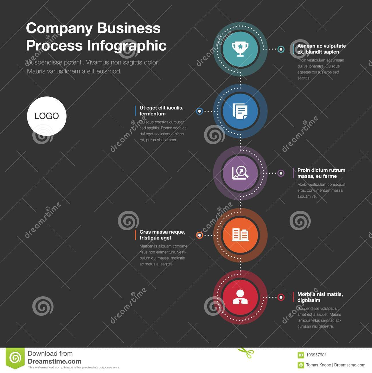 Company Business Process Template Isolated On Dark Background Stock