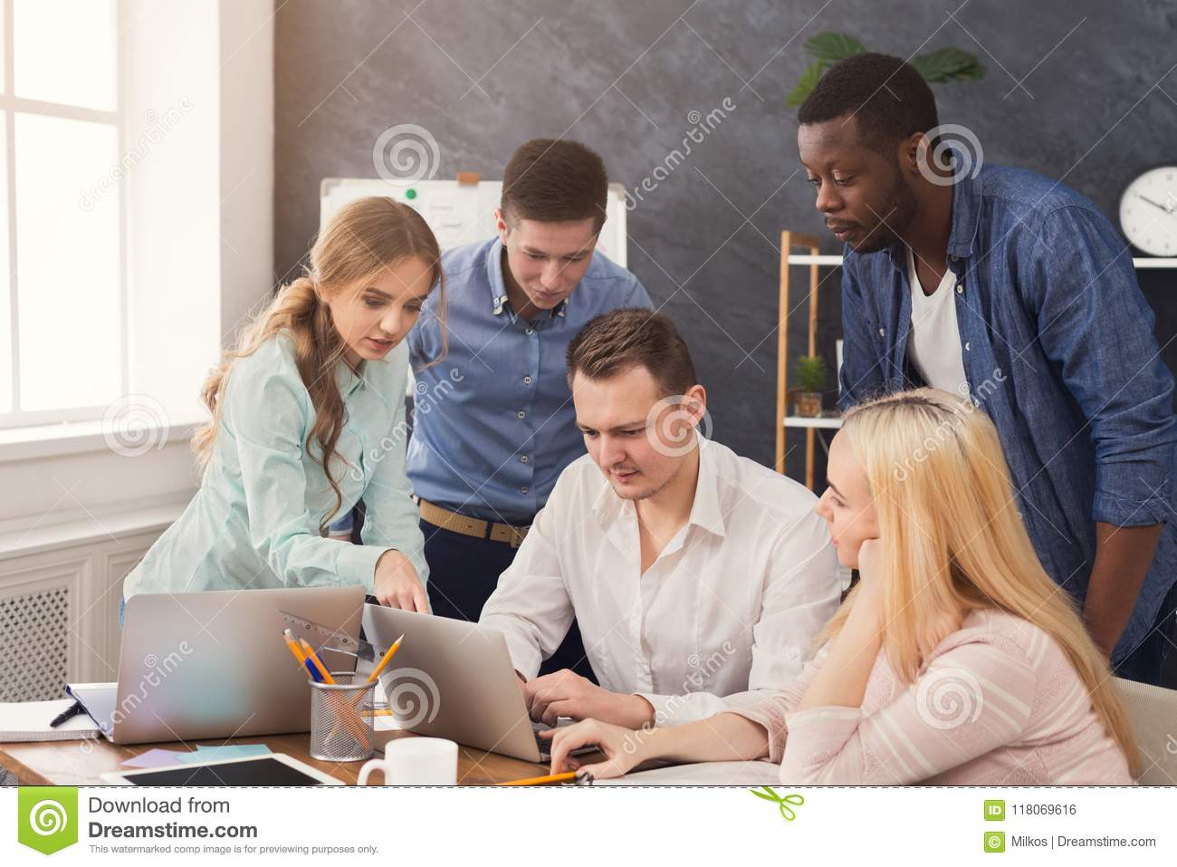 company coworkers discussing ideas in office stock photo image of