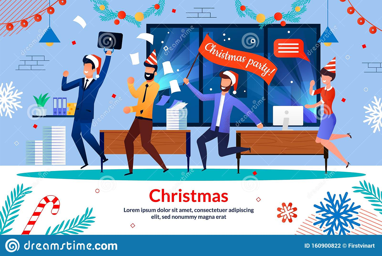 Company Employees Christmas Party Vector Banner Stock ...
