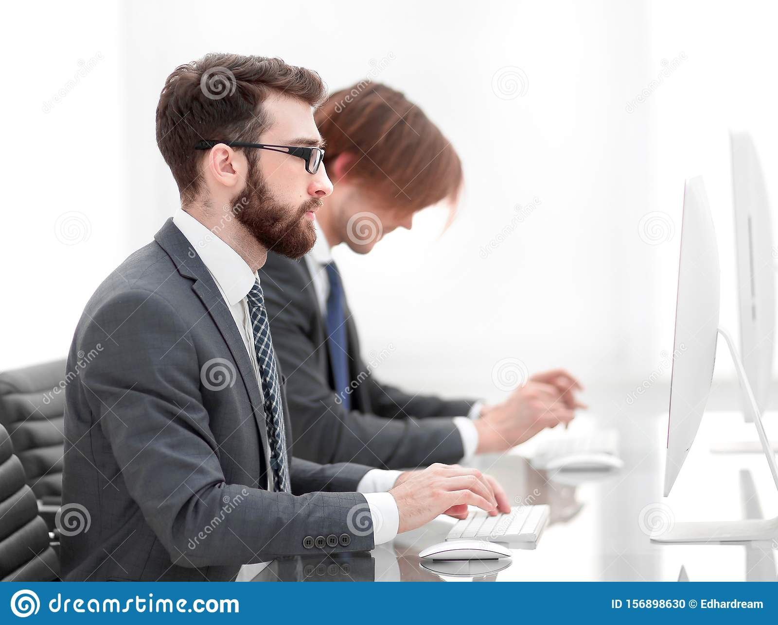Company employees working in software development
