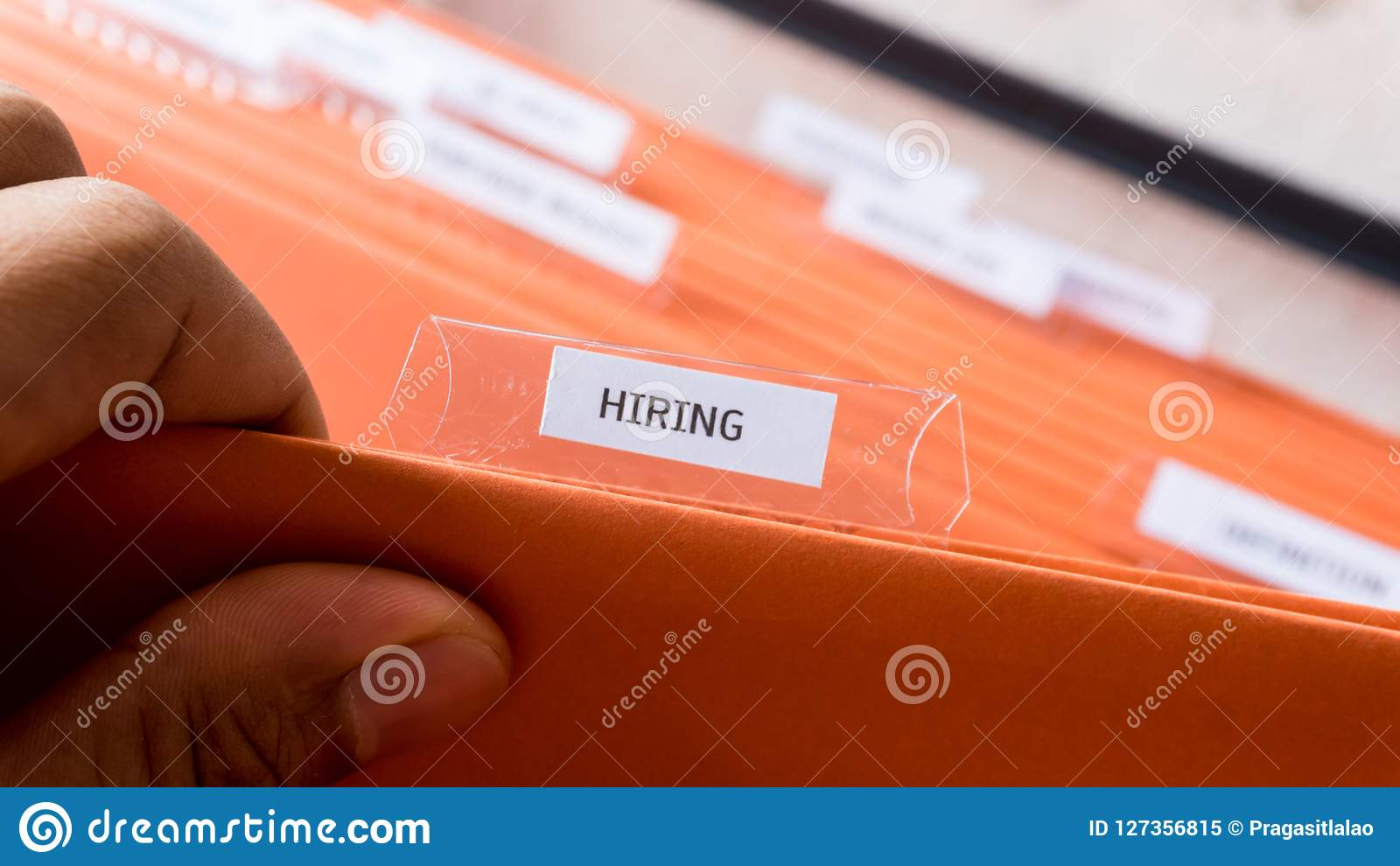 Company Hiring Recruit Manpower Record In Files Stock Image