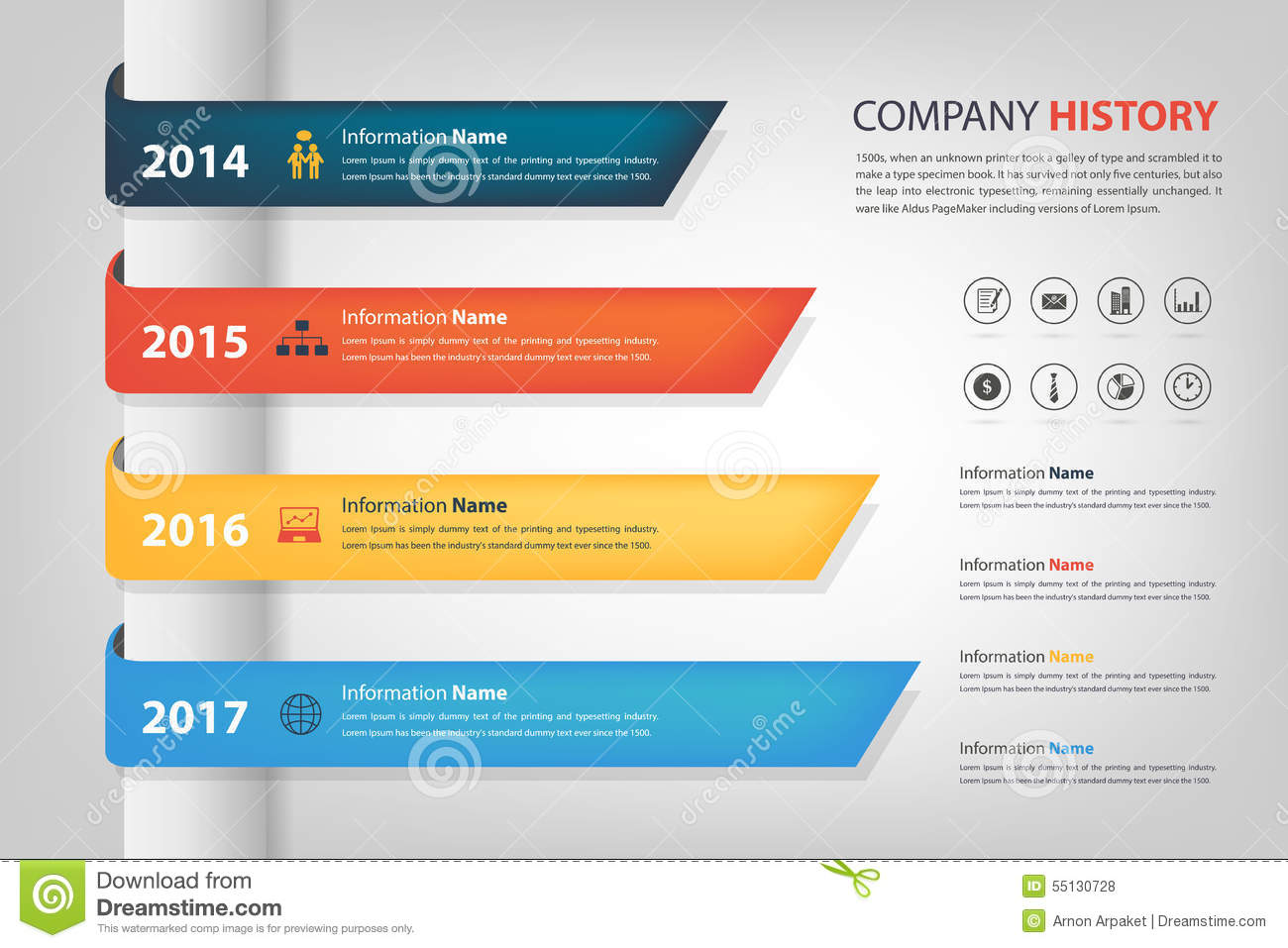 company history in time line year horizontal graph bar vector