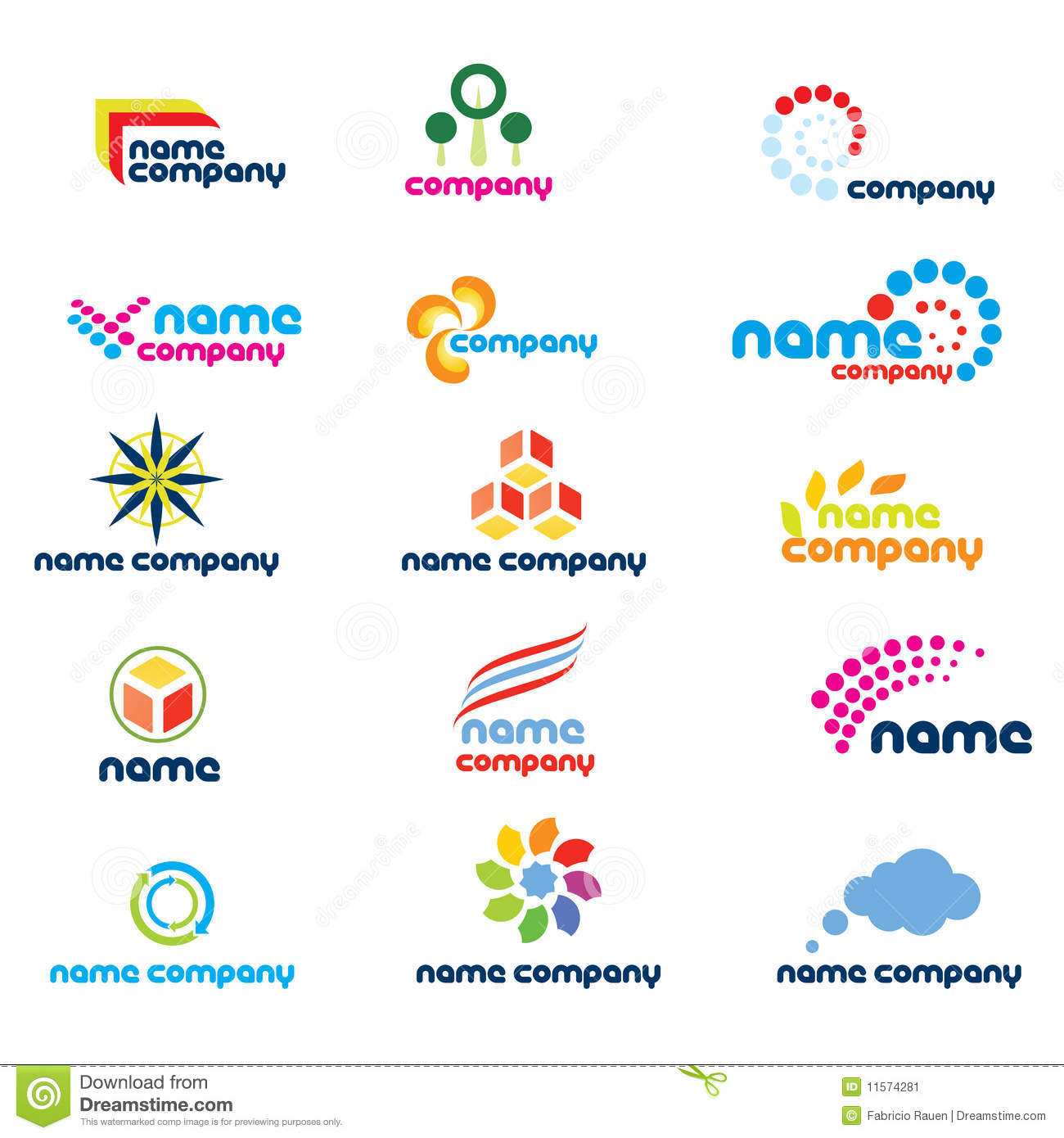 set of abstract designs isolated on white suitable for a company logo