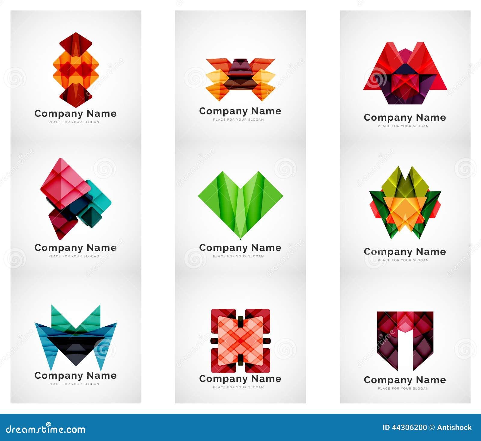 Company logos, paper geometric icon set