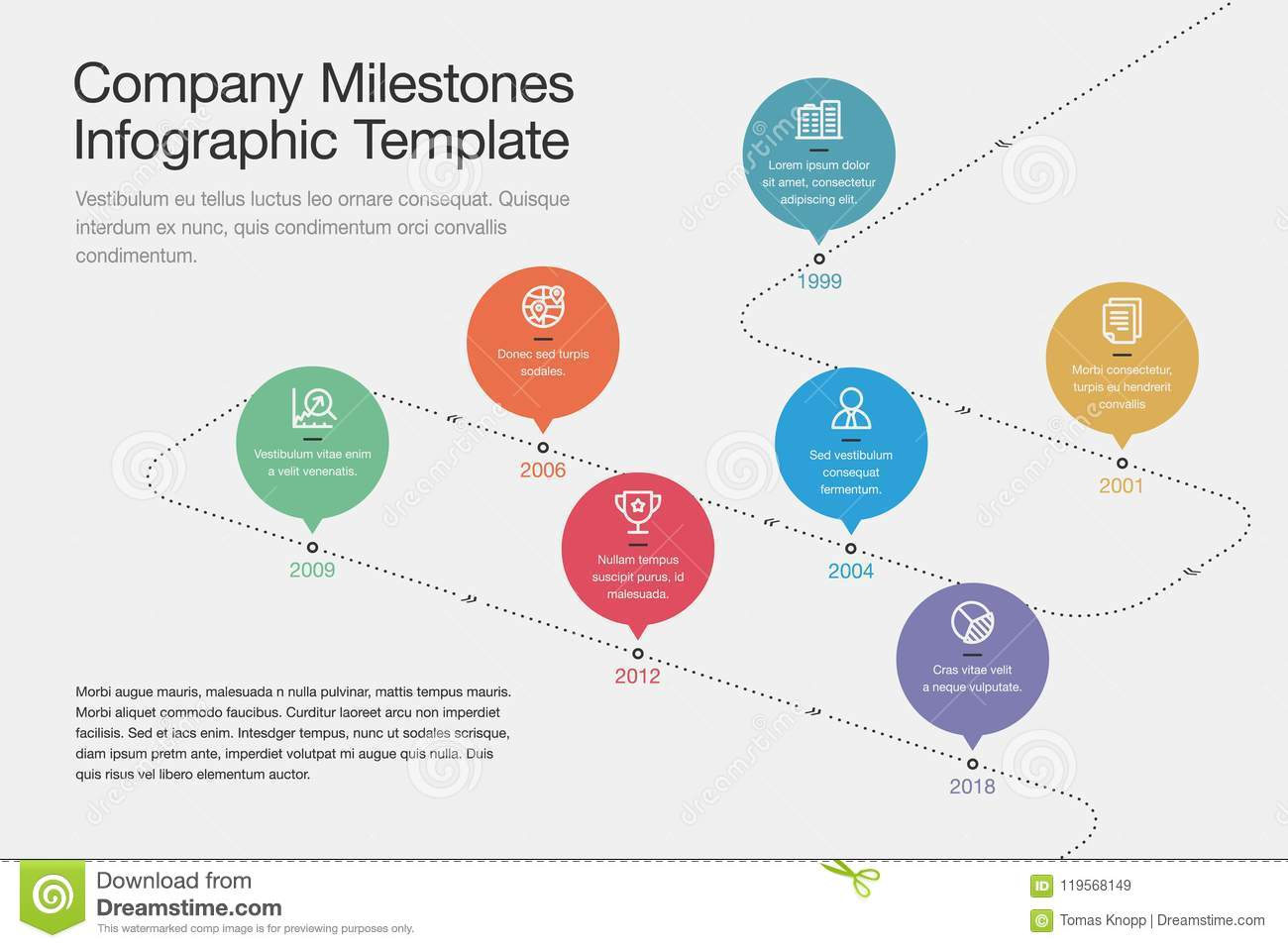 company milestones timeline template with colorful circles and