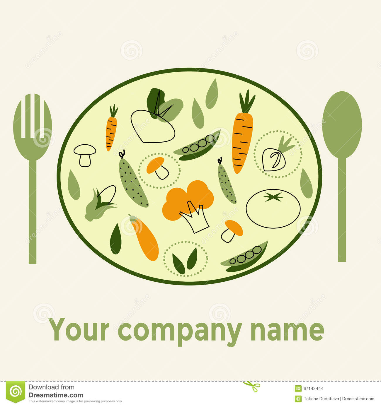 Company Name Healthy Food On White Background With Trendy Linear
