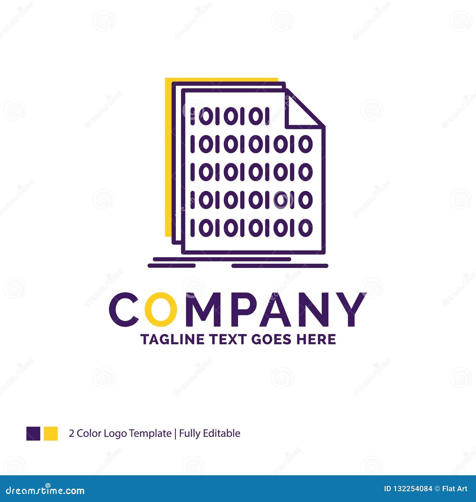 Company Name Logo Design For Binary, code, coding, data, documen