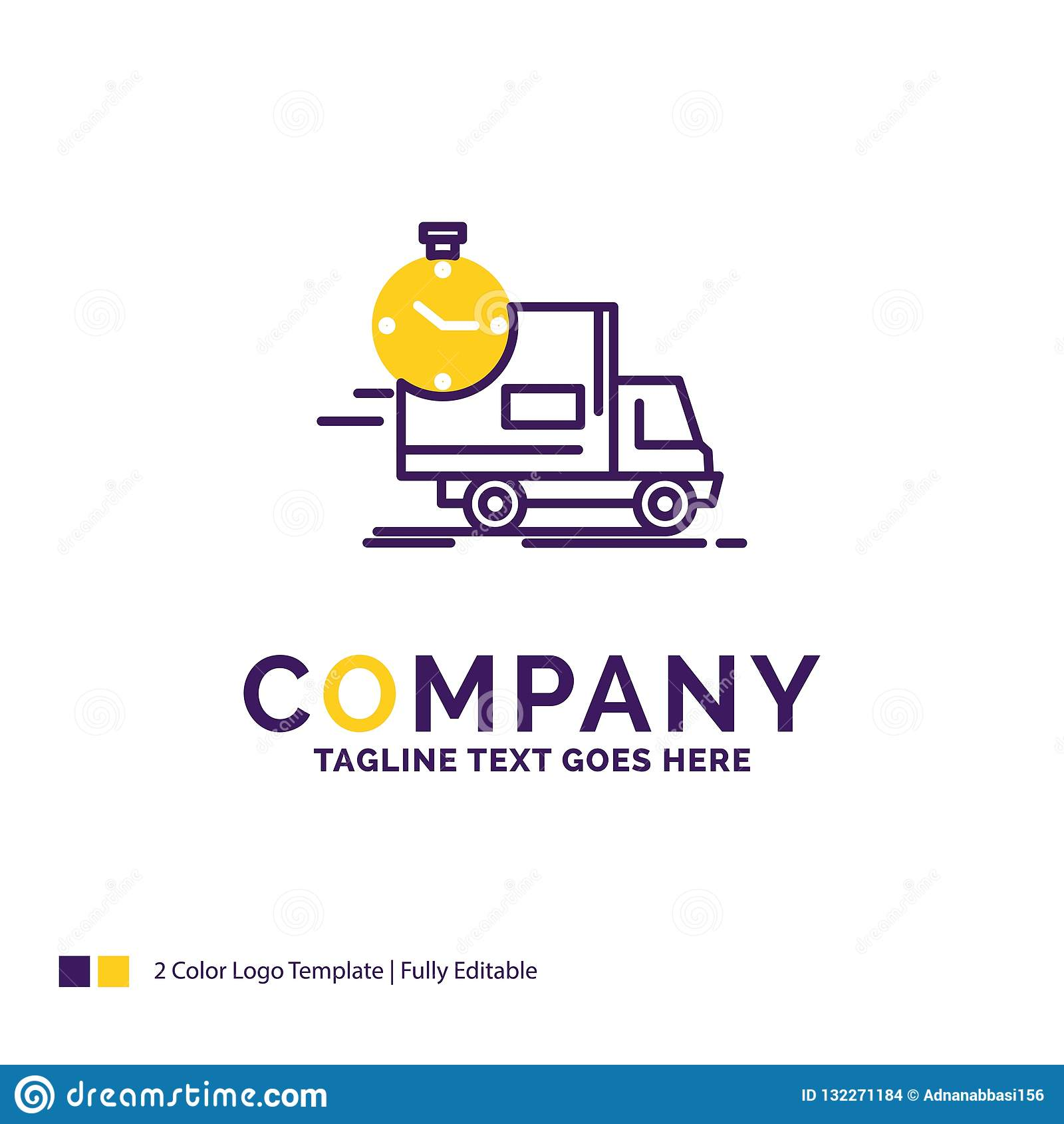 Company name logo design for delivery time shipping transport truck purple and yellow brand name design with place for tagline