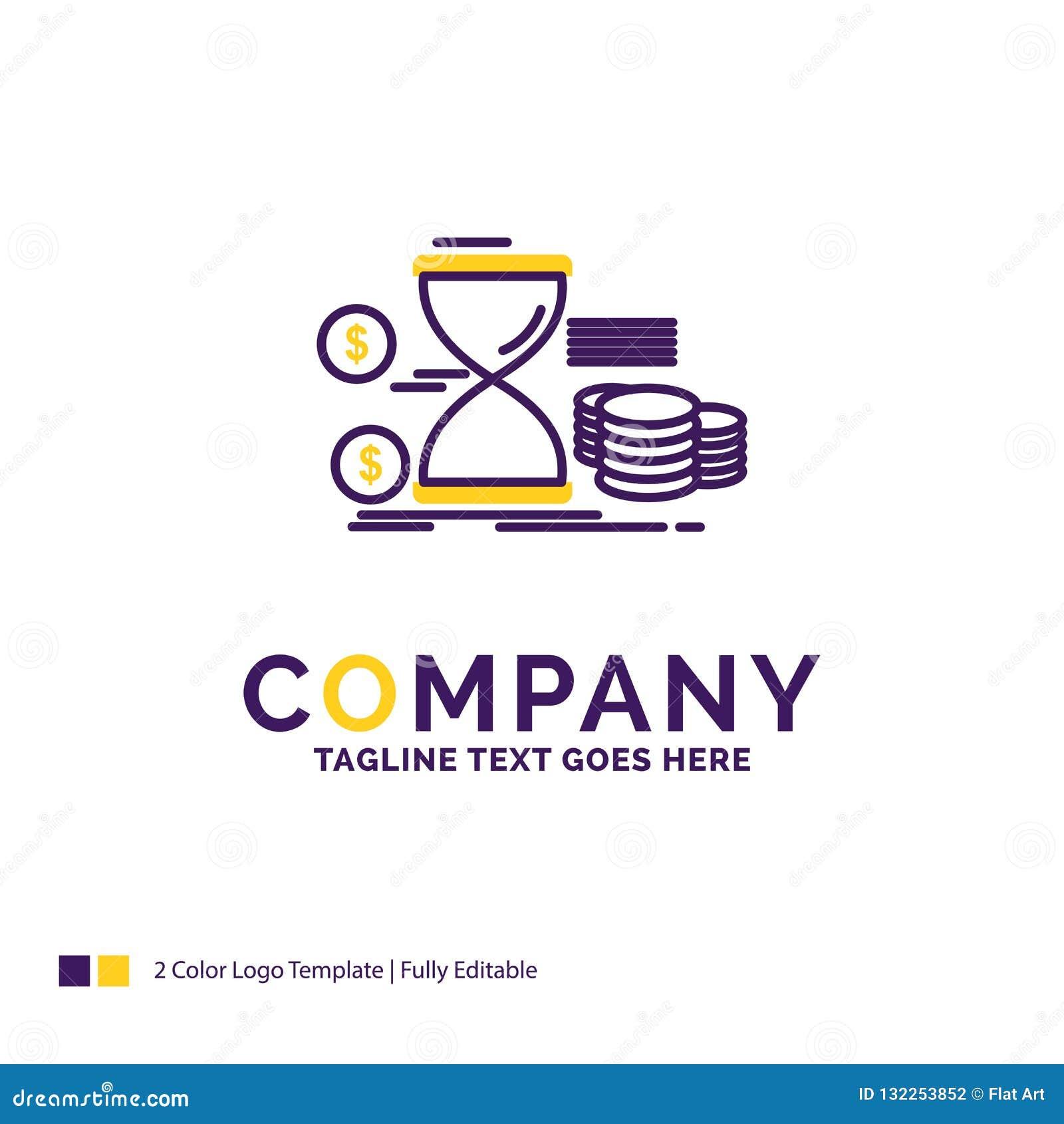 Company Name Logo Design For Hourglass Management Money Time