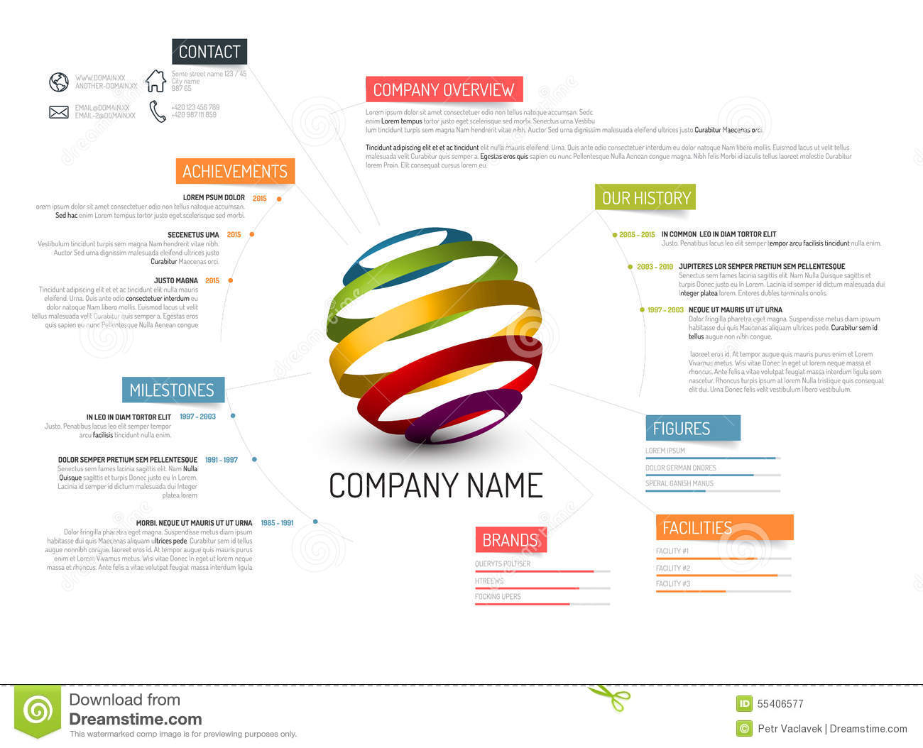 Company Overview Template Stock Illustration - Image: 55406577
