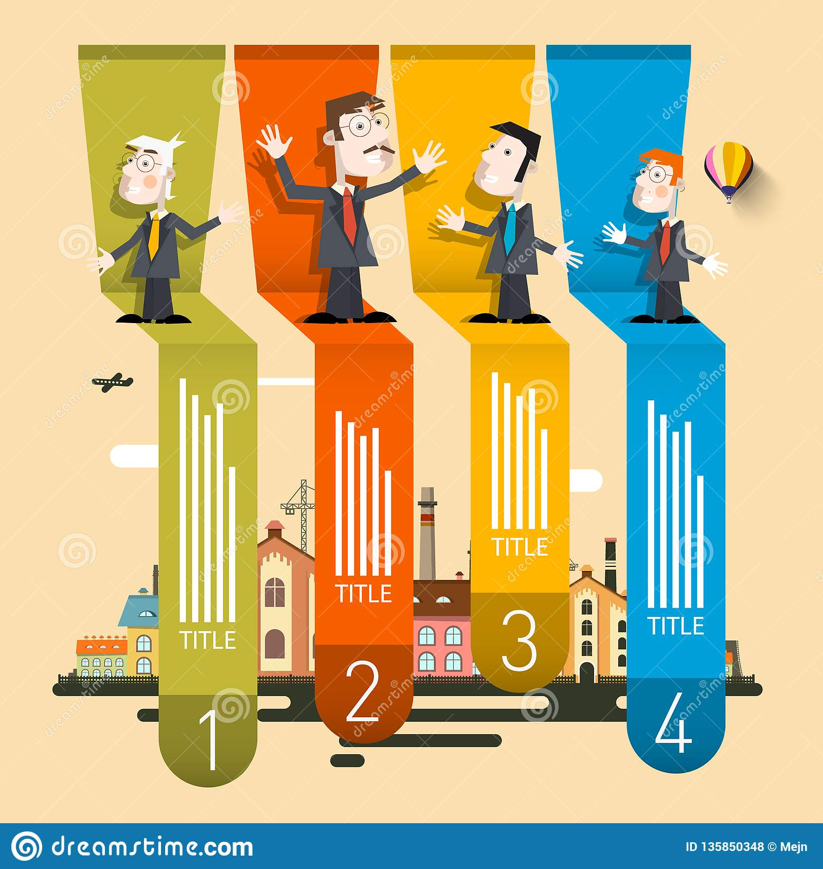 Company Profile Infographic. Four Steps Retro Vector Infographics