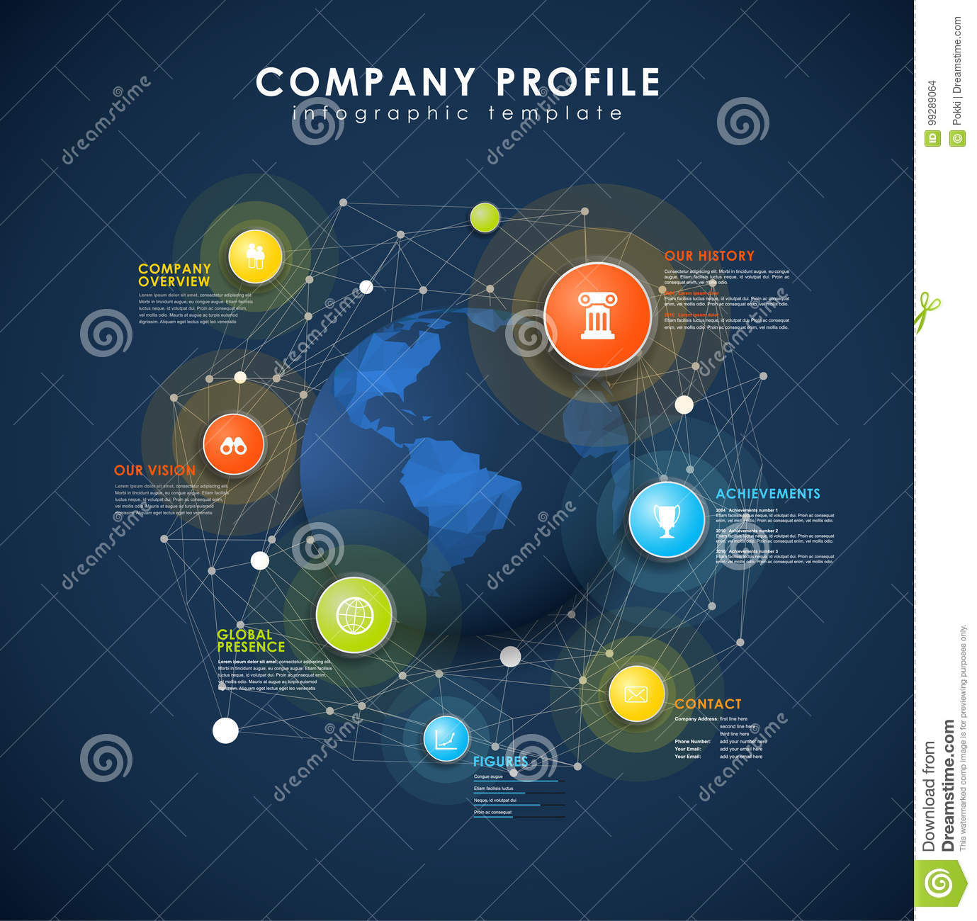 Company Profile Overview Template With Colorful Circles Stock Vector