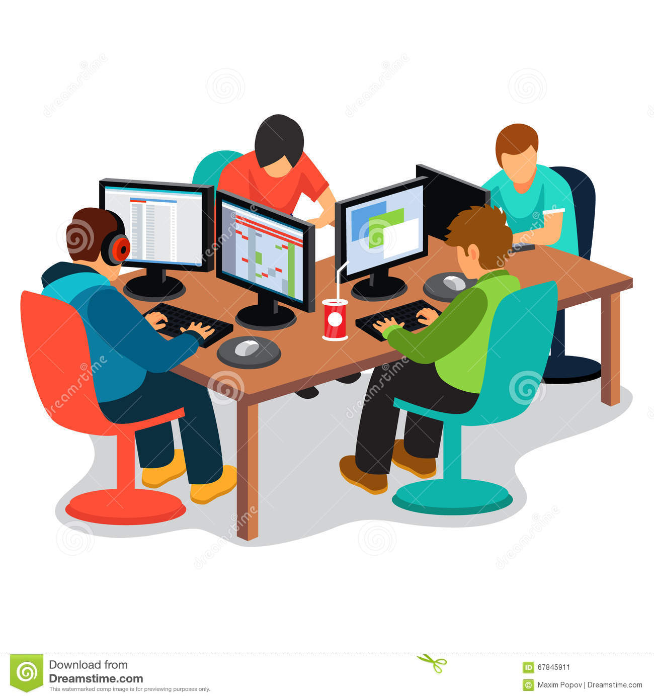 IT company at work stock vector. Illustration of person ...