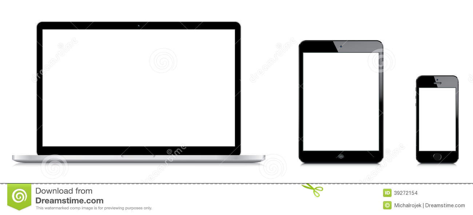 Comparação do pro iPad de Macbook mini e do iPhone 5s