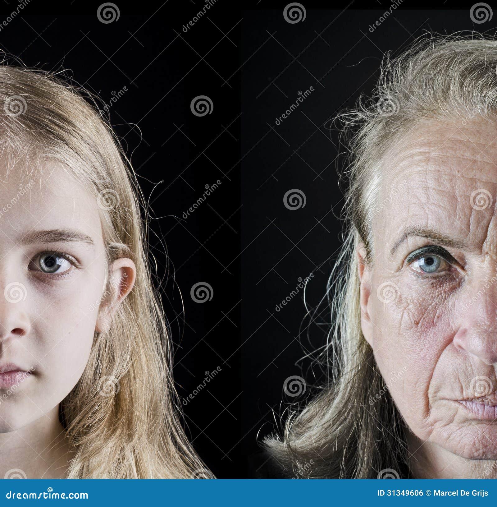 Comparación de la mujer mayor y de la muchacha