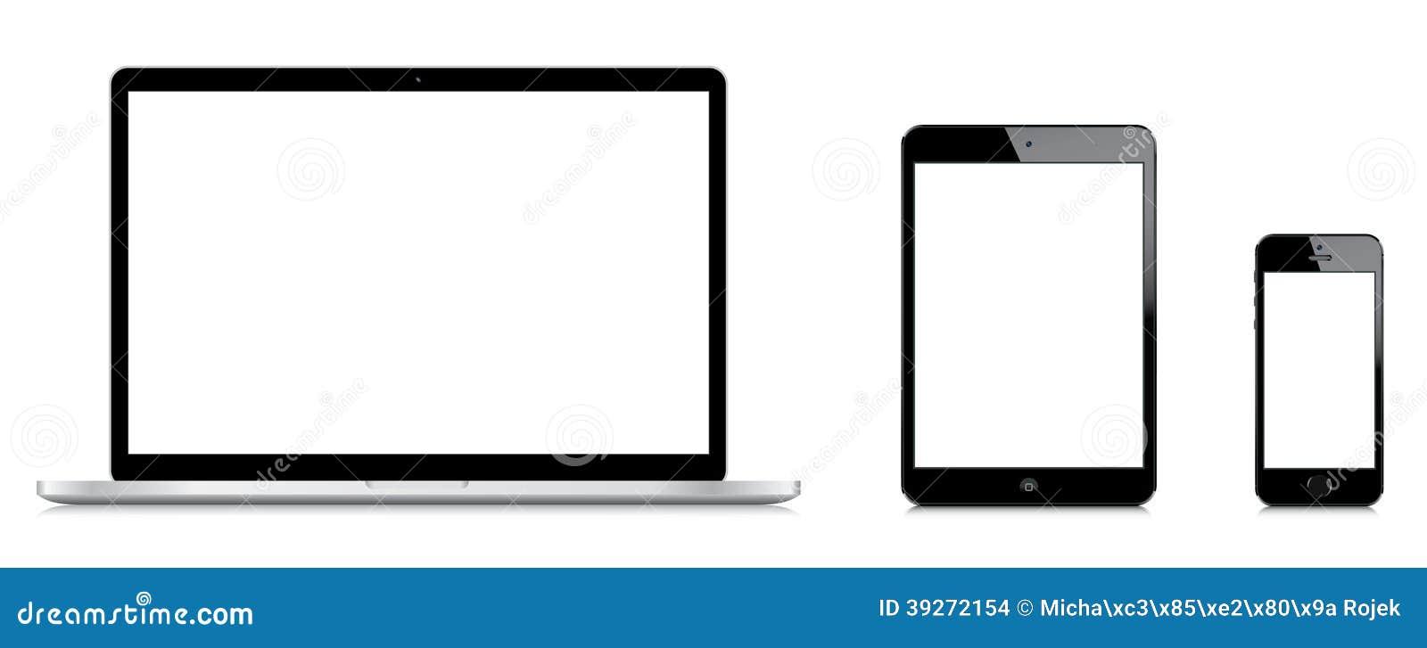 Comparación del favorable iPad de Macbook mini y del iPhone 5s