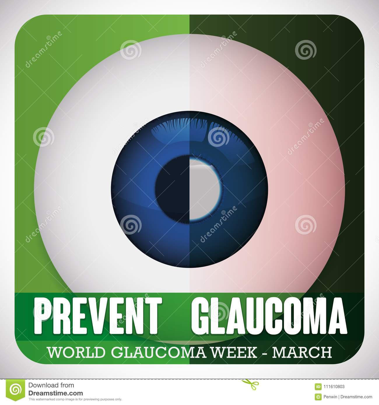 Comparative Eyeball of Healthy and Sick Eye for Glaucoma Week, Vector Illustration