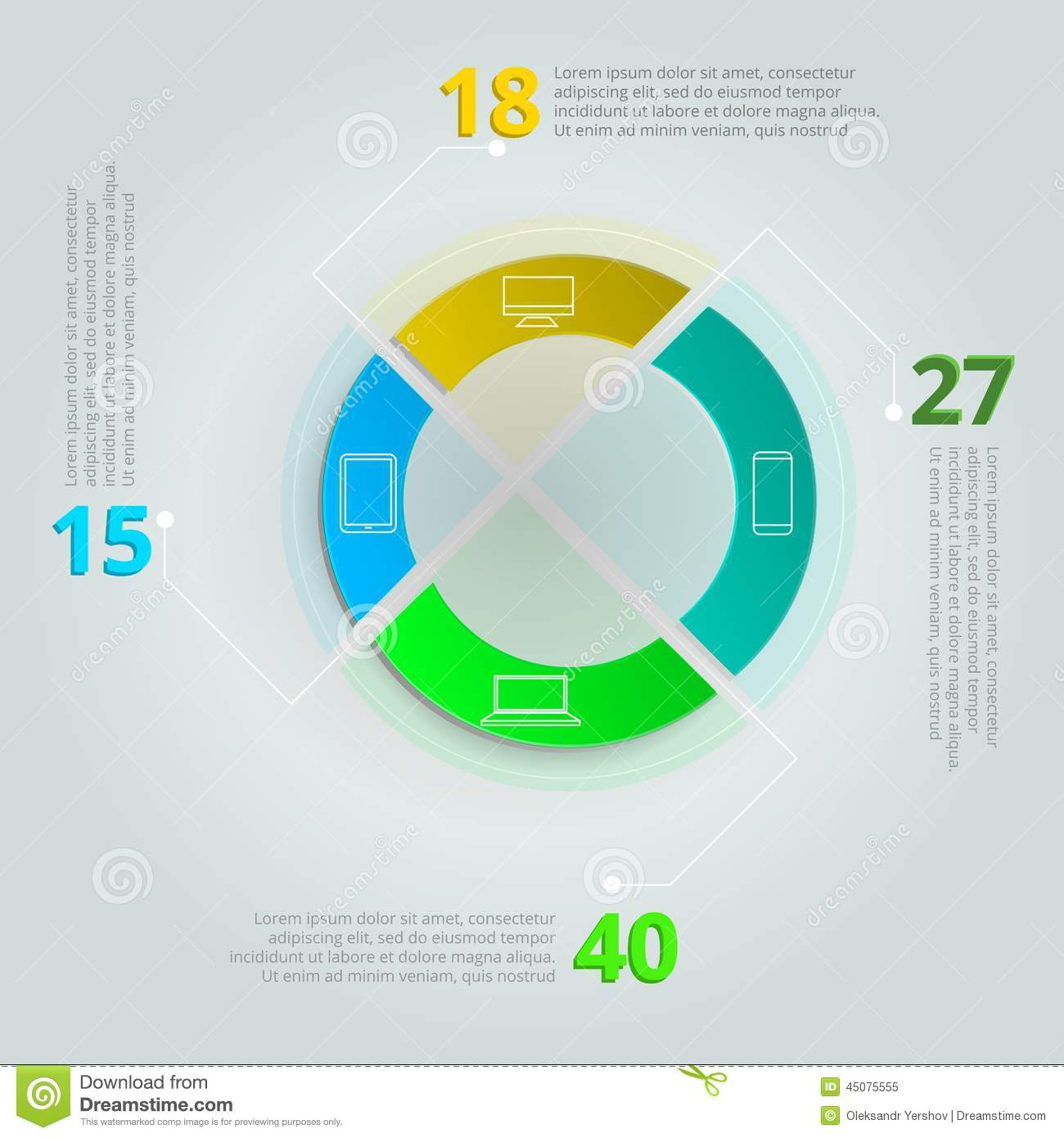 Round Infographic With Colored Parts Icons For IT Sphere Sample Data On Gray Background