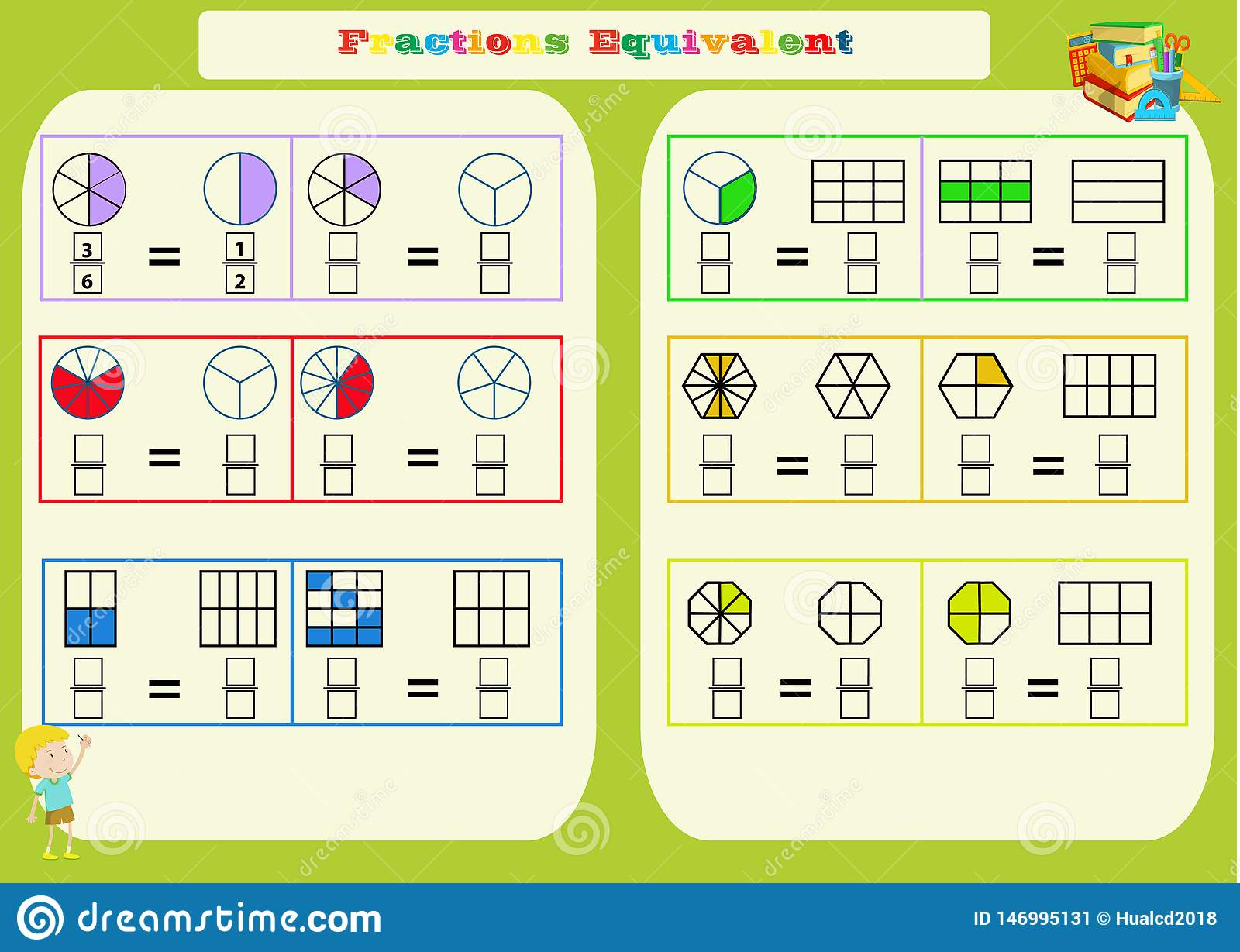 Comparing Fractions Mathematical Worksheet. Squares ...