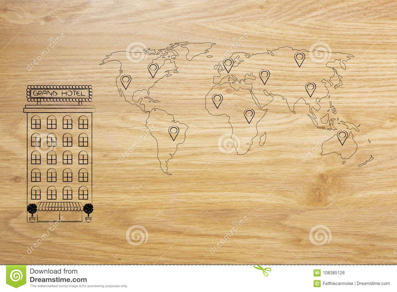 Hotel building next to world map with gps pin icons stock hotel building next to world map with gps pin icons royalty free illustration gumiabroncs Image collections