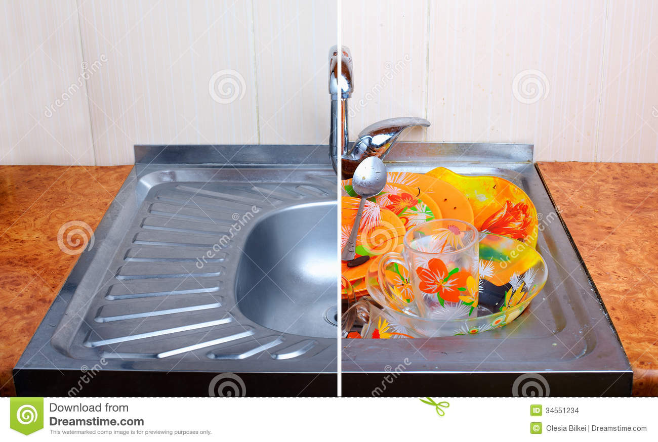 comparison of clean sink with full of dirty dishware one
