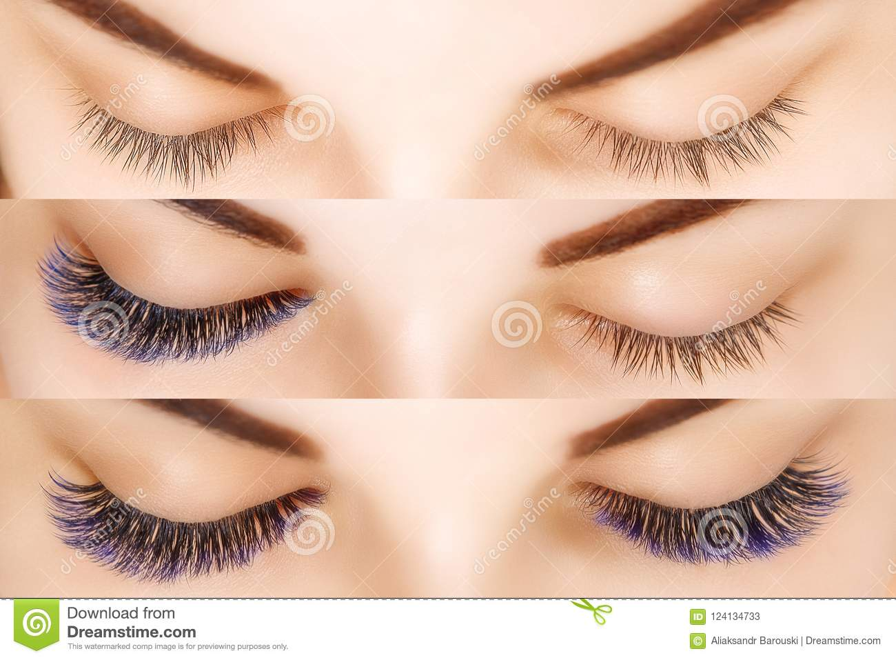 Eyelash Extension Comparison Of Female Eyes Before And After Blue