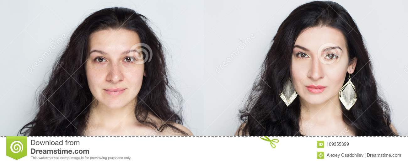 Comparison Portrait Young Beautiful Woman Without And With Makeup Cosmetics Nude Natural Beauty Make Up Real Result Without Retouching