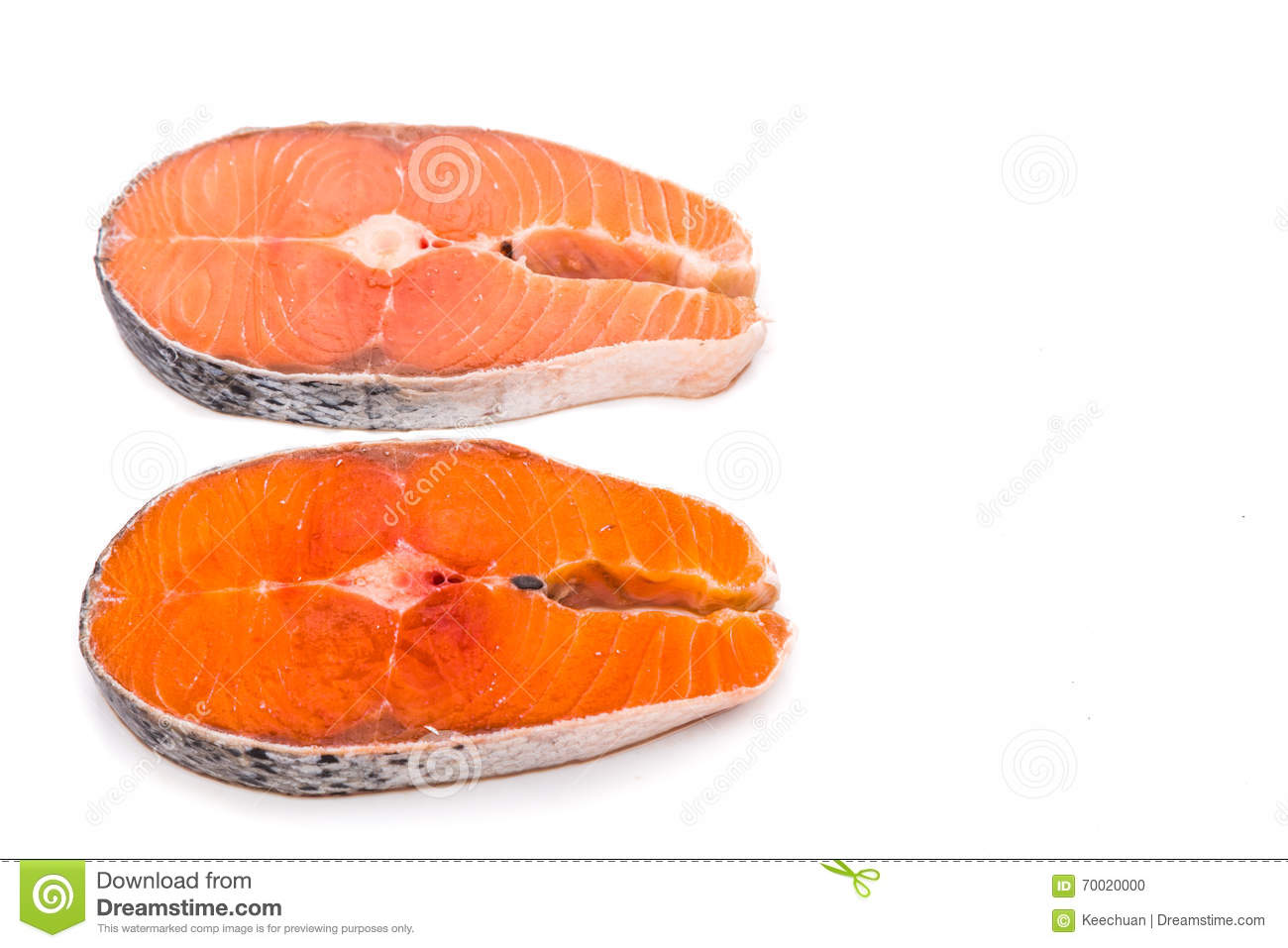 Comparison Between Wild And Farmed Salmon Blocks On White Backgr