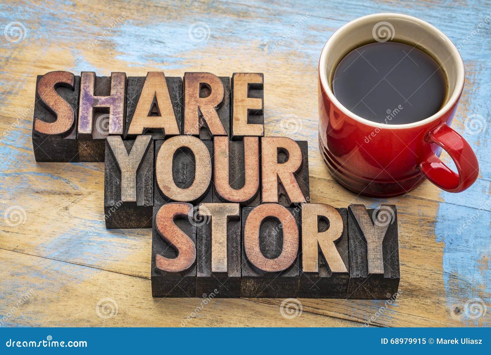 Comparta su historia en tipo de madera de la prensa de copiar