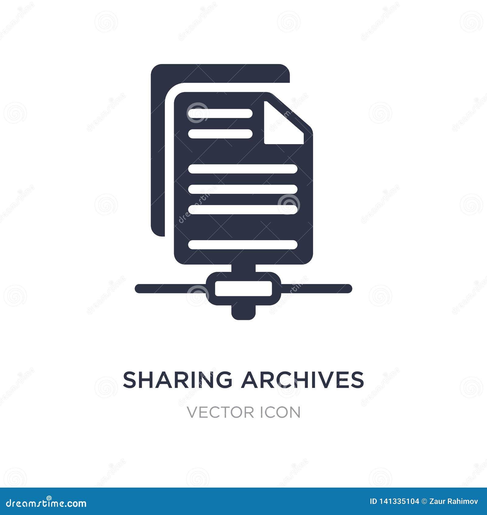 Compartilhando do ícone dos arquivos no fundo branco Ilustração simples do elemento do conceito da otimização do Search Engine