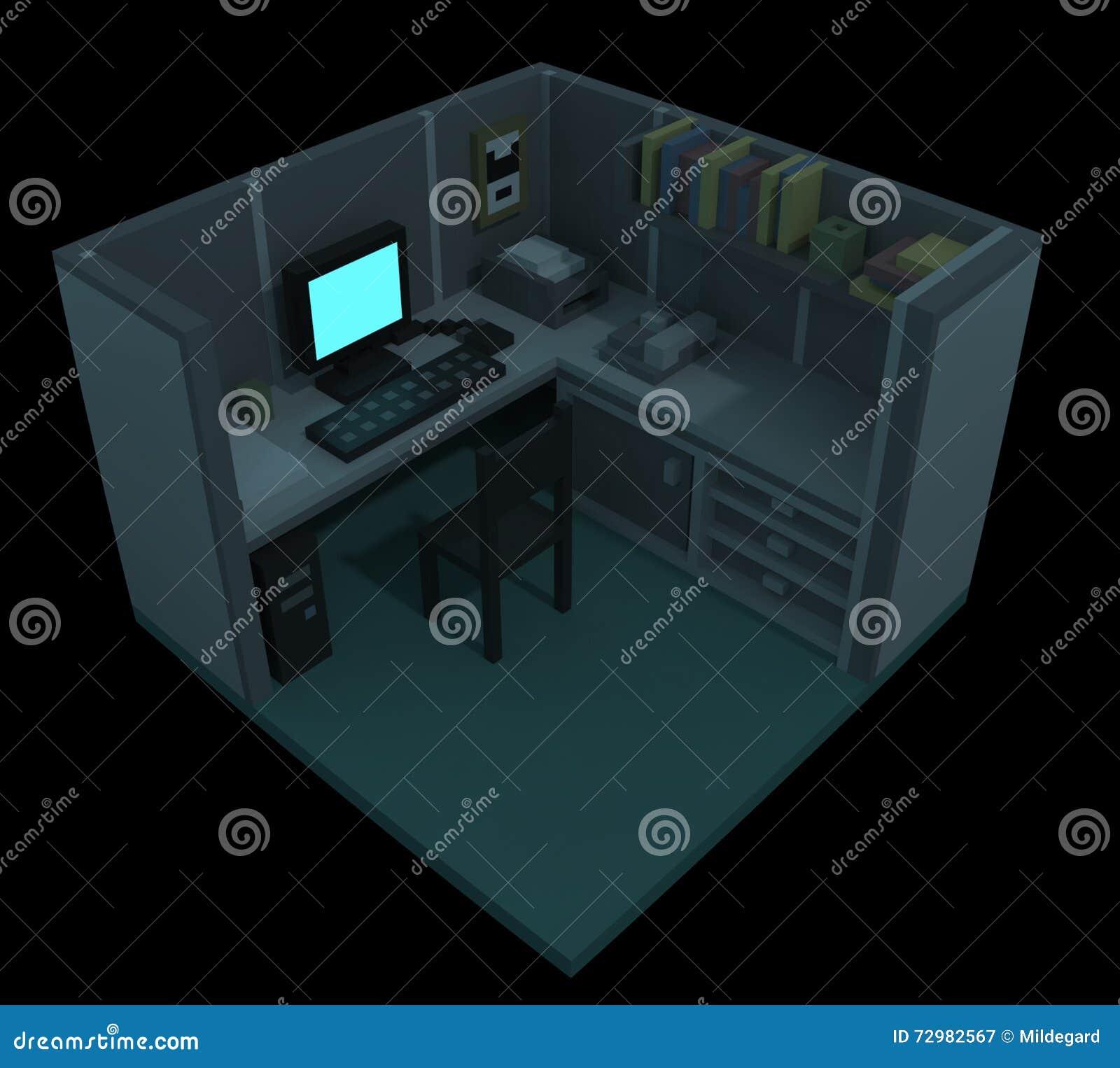 Compartiment - art du voxel 3d
