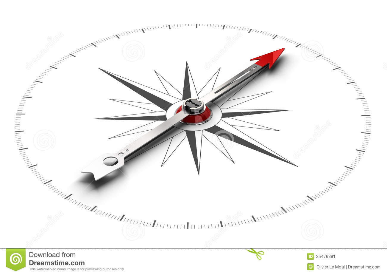 Perspective illustration of a compass over white background, symbol of ...