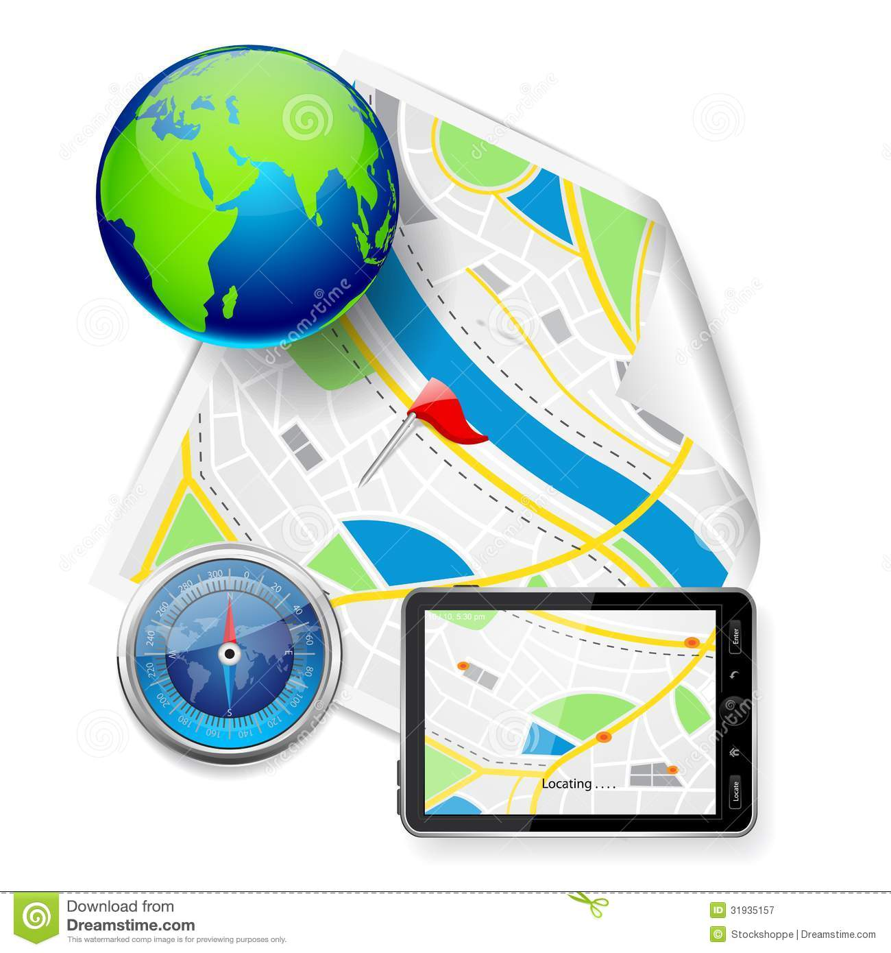 Compass and gps device on road map stock vector image 31935157 compass and gps device on road map gumiabroncs Choice Image