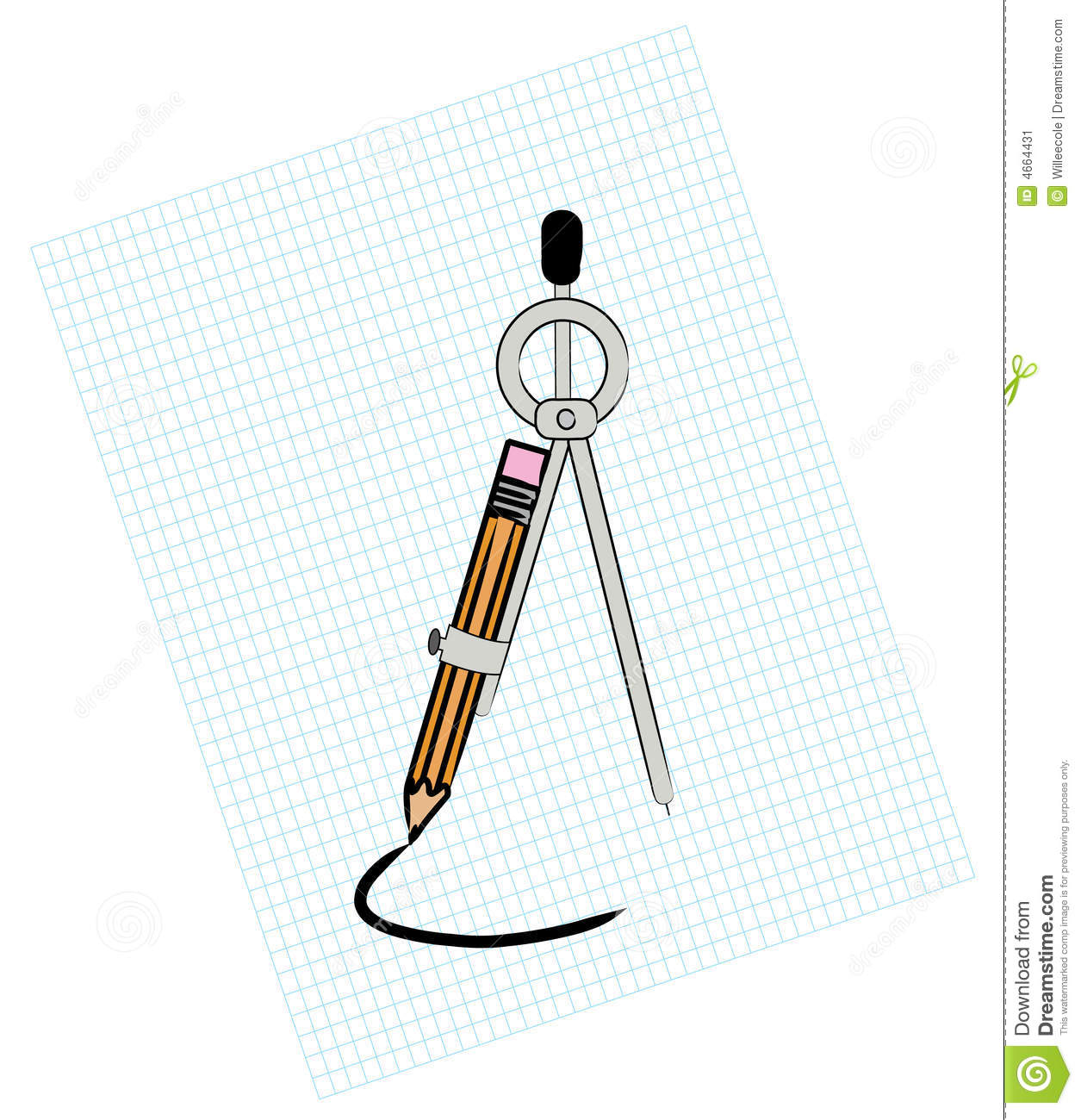 compass on graph paper stock vector  illustration of