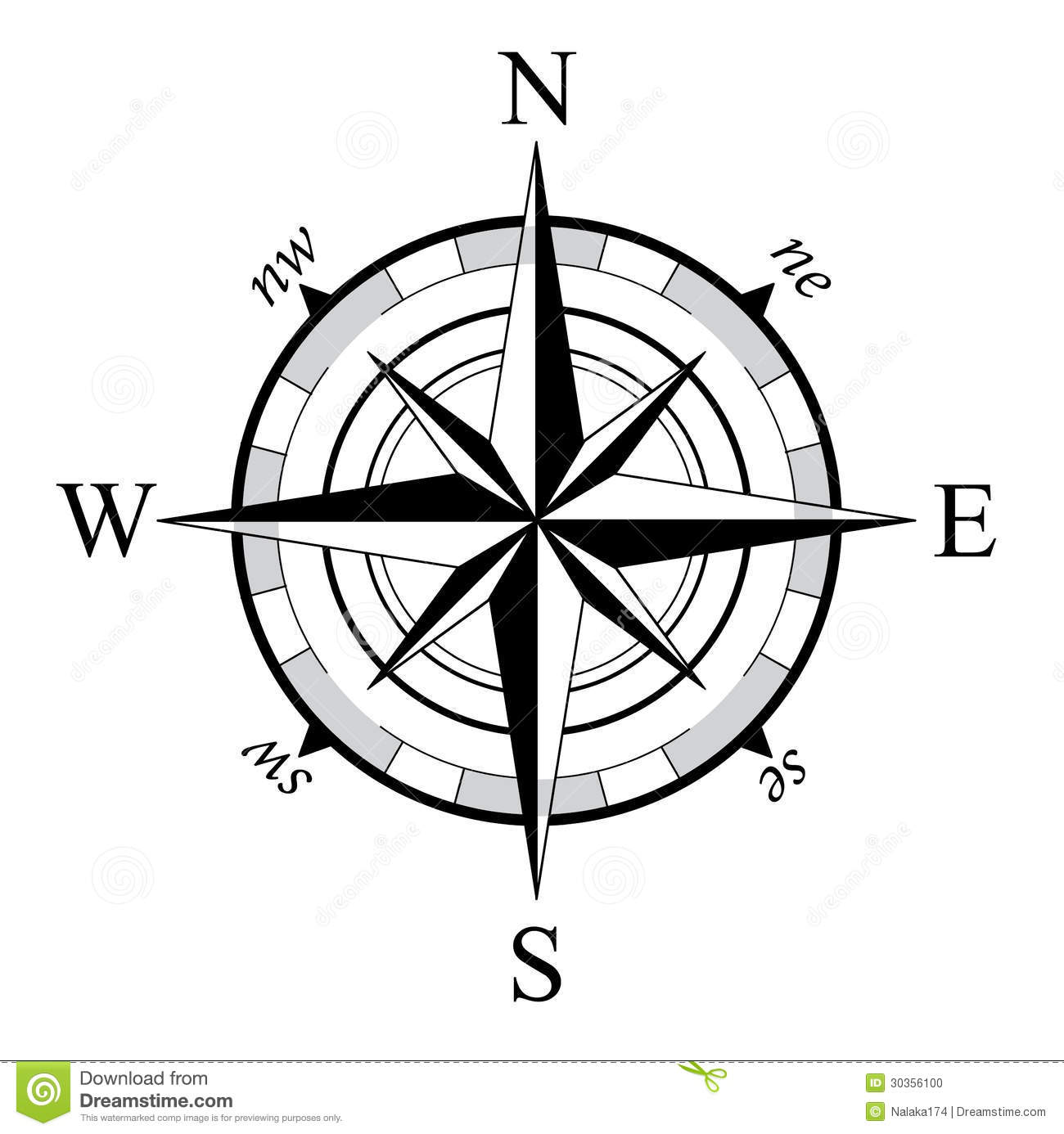 Compass Pointing East Tattoo Stock Photo: Compass. ...