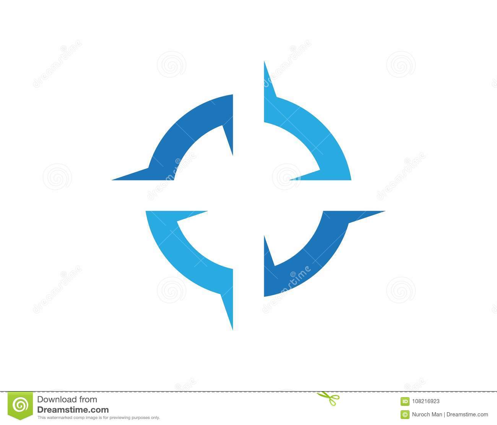 Compass Logos Symbols Template Icons App Stock Vector