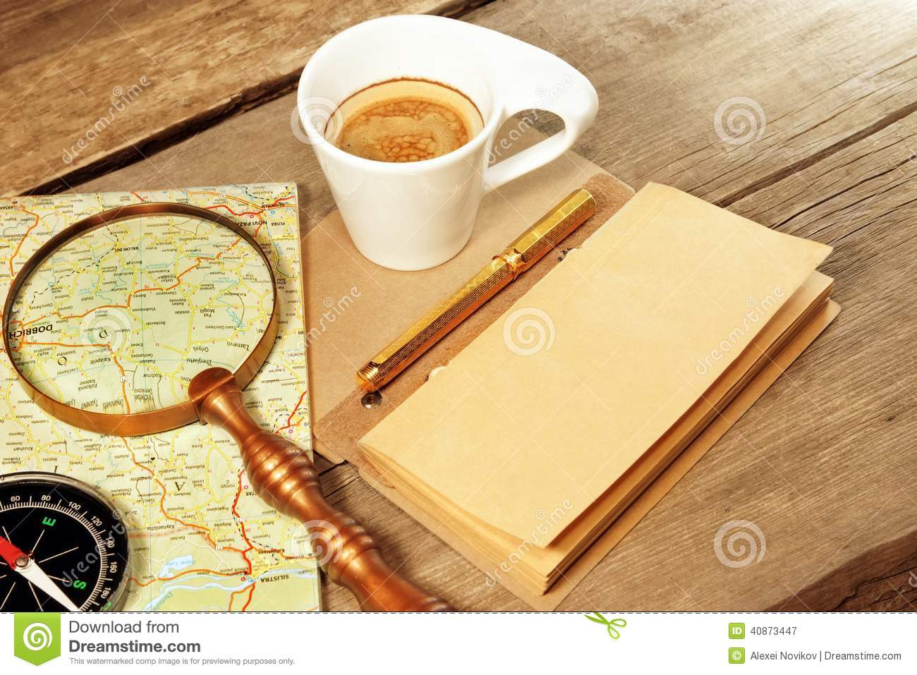Coffee cup frames - Compass Magnifier Vintage Notepad Gold Pen Coffee Cup Wood Table Royalty Free Stock Photography