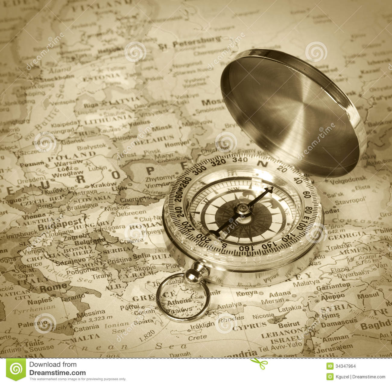 Compass on map of Europe stock photo. Image of adventure ...