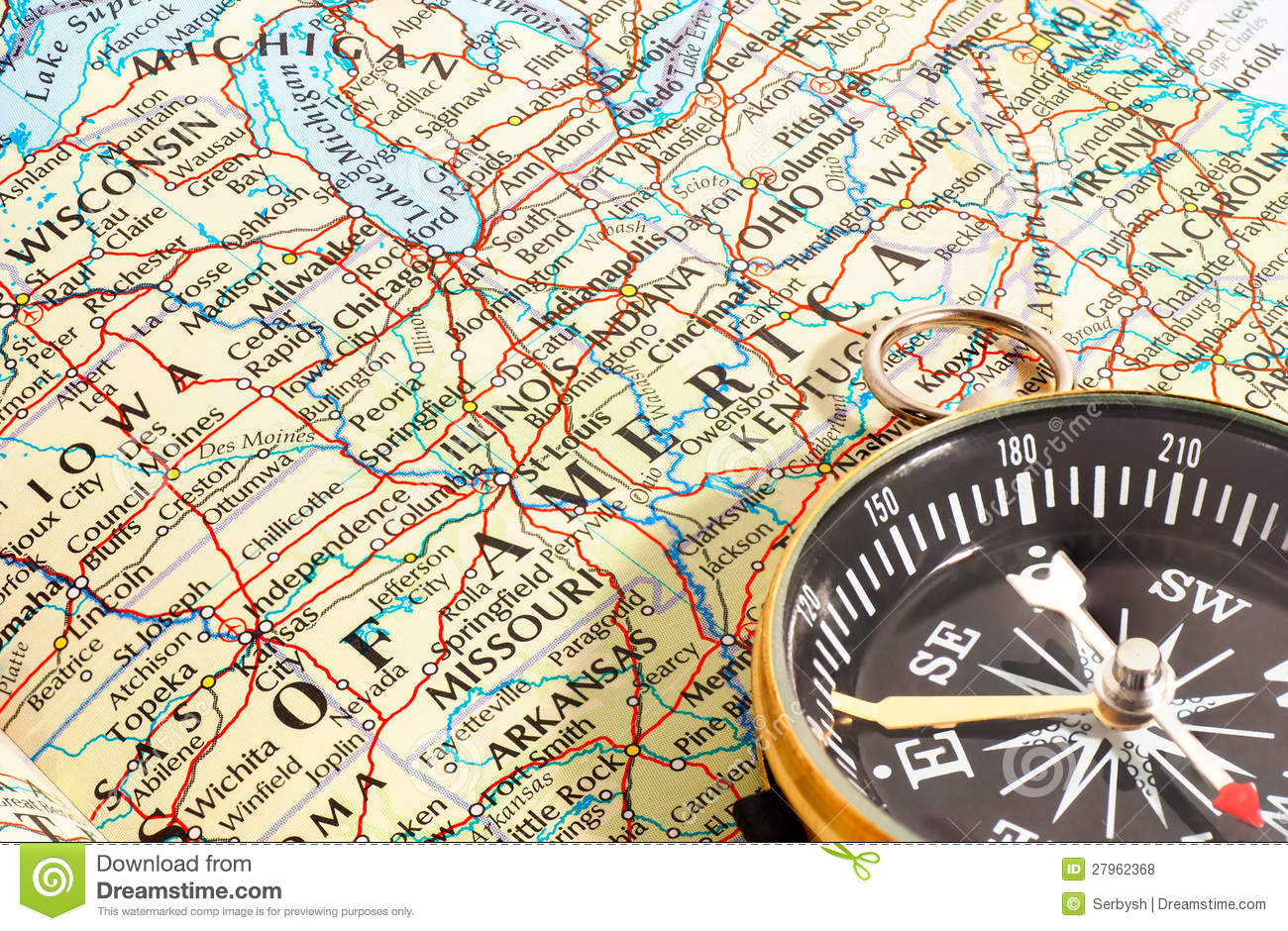 Compass And Map North America Stock Photo   Image of canada