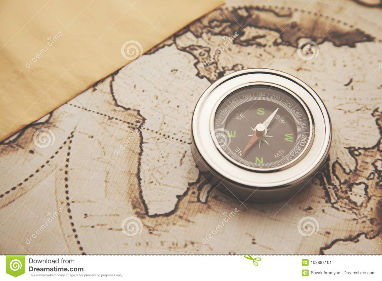 Compass and map stock image  Image of history, navigate