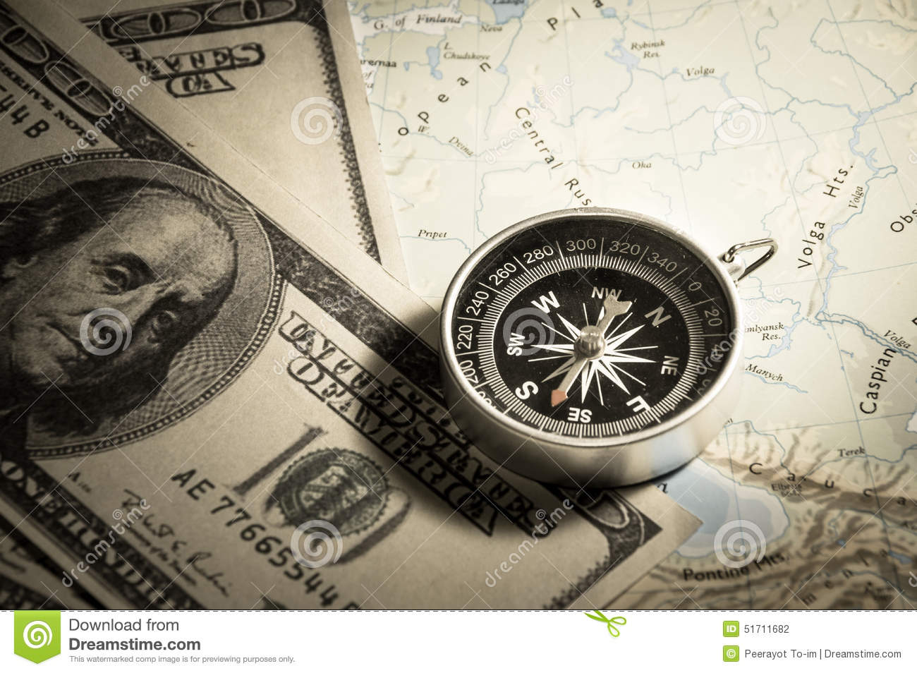 Compass Money Map Compass with money on map. stock photo. Image of bill   51711682 Compass Money Map