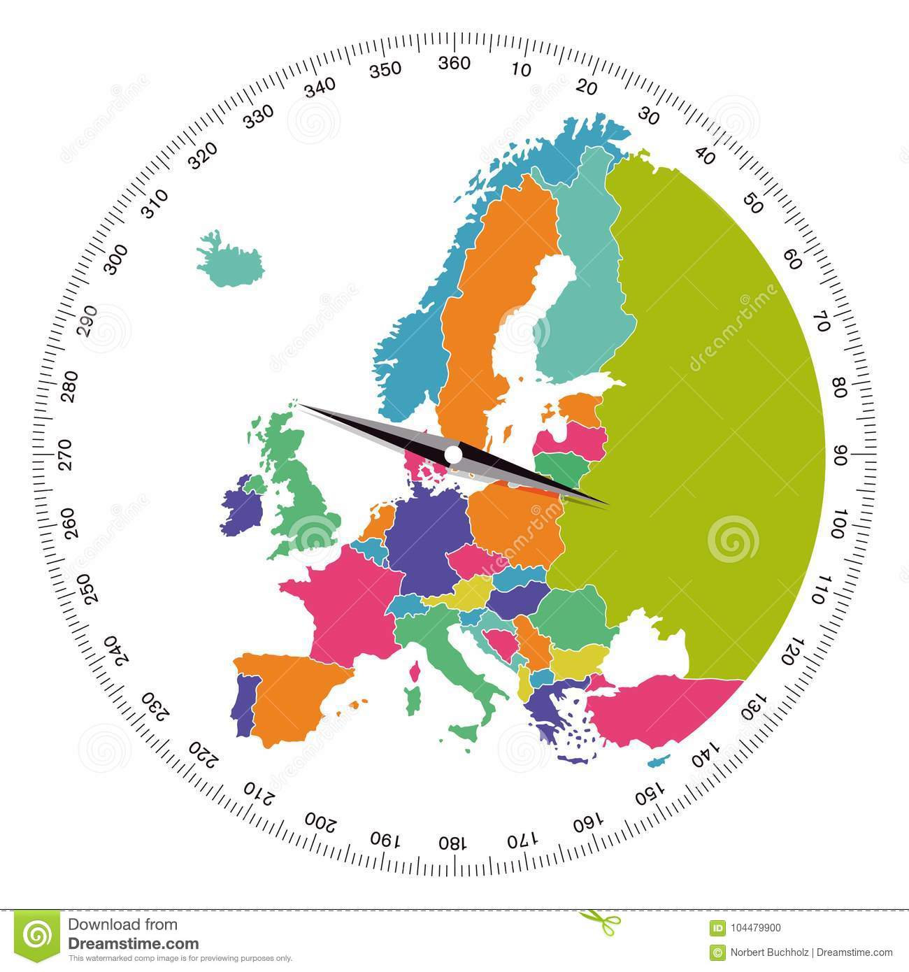 Compass With Needle And Map Of Europe Stock Vector - Illustration of ...