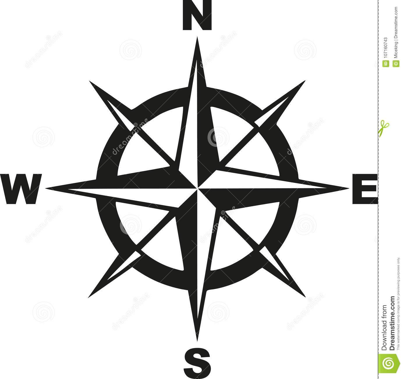 Compass With North South East West Stock Vector ... on ↗  id=98063