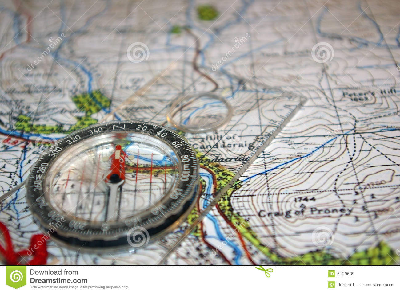 Compass on old map stock image  Image of adventure, hills - 6129639