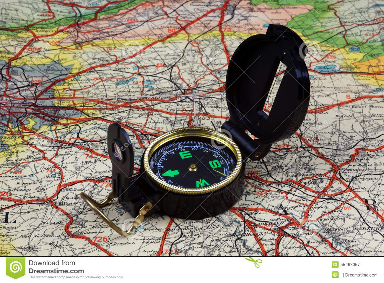 Compass on old map stock image  Image of rambling, scotland - 55493057