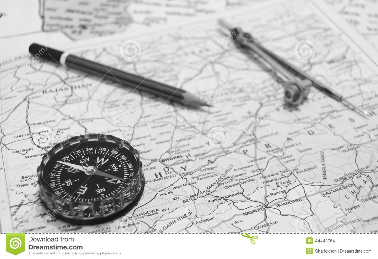 Compass And Pencil On The Map Stock Photo - Image of ...