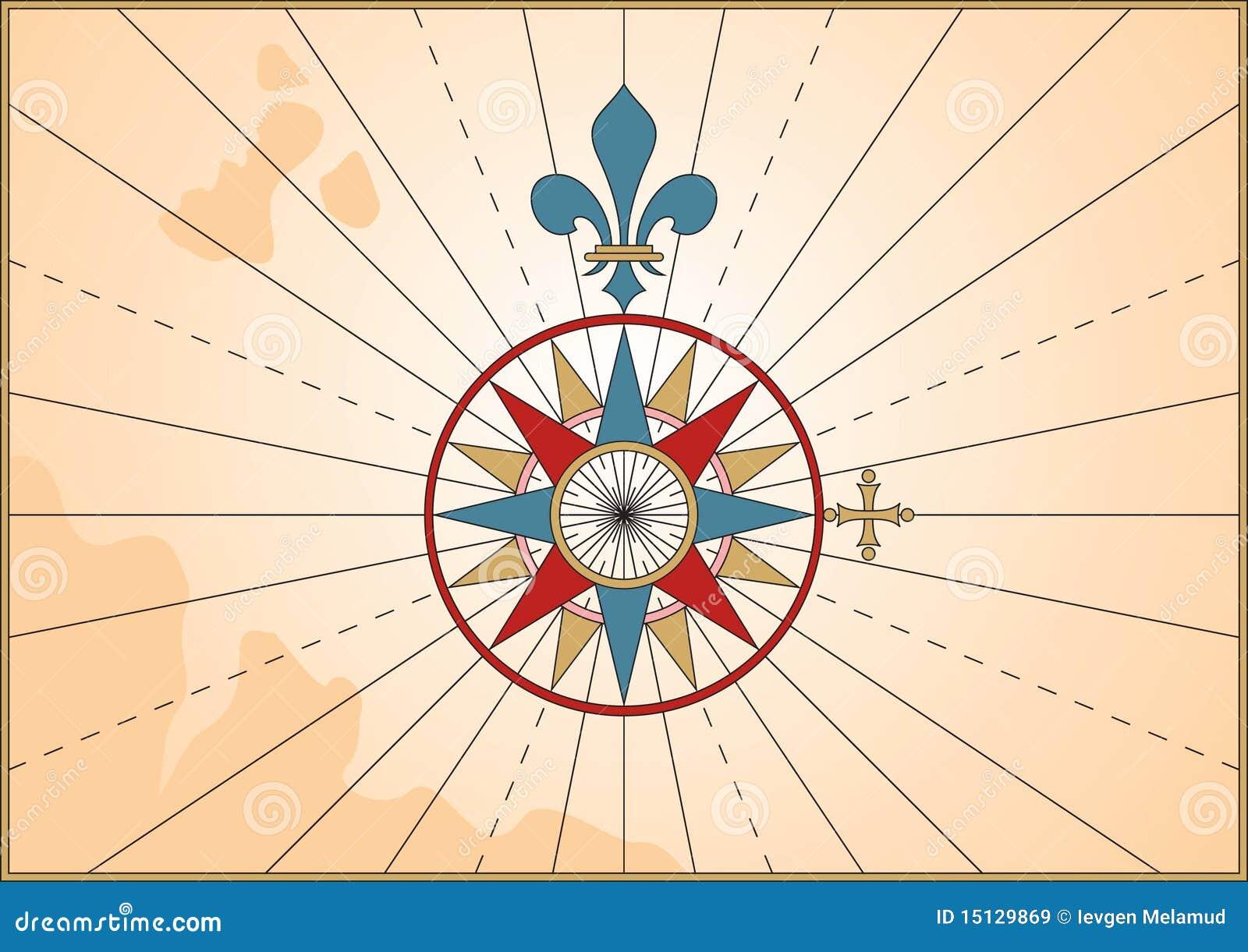 Compass Rose on old se...
