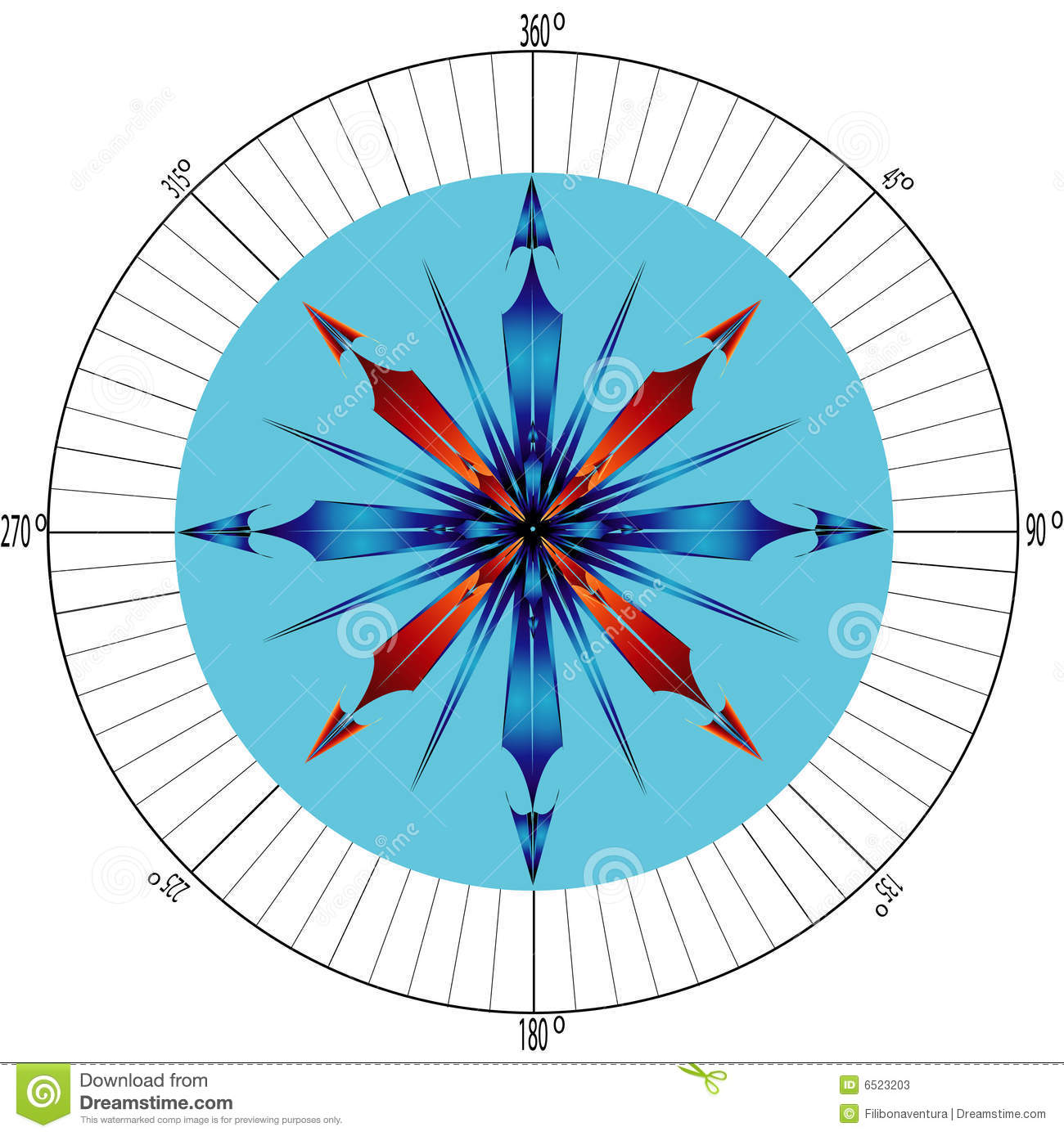 Compass rose with degrees