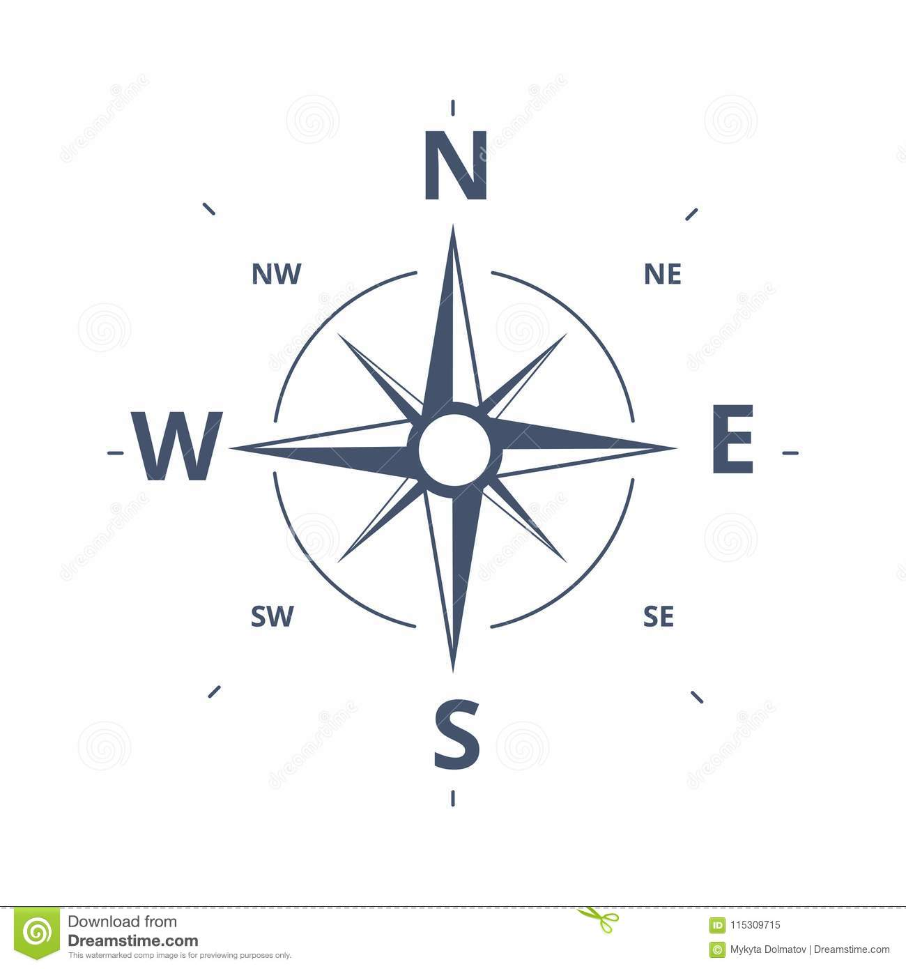 compass rose icon vector logo template wind rose retro design c